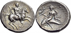Calabria. Tarentum. Circa 272-240 BC. Stater (Silver, 20 mm, 6.39 g, 4 h), D(i) … and Apollonios. Warrior, wearing a lorica and a crested helmet, hold...