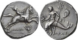 Calabria. Tarentum. Circa 240-228 BC. Stater (Silver, 20 mm, 6.57 g, 11 h). Rider, wearing tunic, leaning back and facing front, on horse springing to...