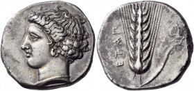 Lucania. Metapontum. Circa 400-340 BC. Stater (Silver, 21 mm, 7.65 g, 12 h). Head of Demeter facing to left, her hair bound by a net, wearing a double...