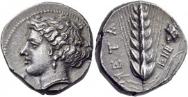 Lucania. Metapontum. Circa 400-340 BC. Stater (Silver, 20 mm, 7.94 g, 11 h). Head of Demeter to left, her hair bound up on the top of her head, wearin...