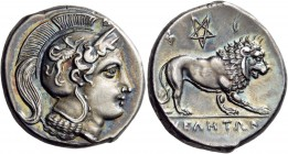 Lucania. Velia. Circa 300-280 BC. Didrachm (Silver, 21 mm, 7.61 g, 1 h). Head of Athena to left, wearing crested Attic helmet adorned with a griffin; ...