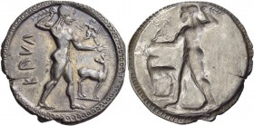 Bruttium. Kaulonia. Circa 525-500 BC. Stater (Silver, 30 mm, 8.33 g, 12 h). ΚΑVΛ Apollo, nude, striding right, brandishing laurel branch in his uprais...