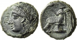 Bruttium. Terina. Circa 350-275 BC. Chalkous (Bronze, 15 mm, 3.48 g, 11 h). TEPI Head of Nymph to right, wearing reed wreath and a pendant earring. Re...
