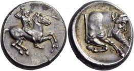 Sicily. Gela. Circa 490/85-480/75 BC. Didrachm (Silver, 18 mm, 8.73 g, 12 h). Bearded horseman, nude, riding right, brandishing spear in his upraised ...
