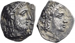 Sicily. Herbessos. Circa 344-339/8 BC. Litra (Silver, 9 mm, 0.76 g, 11 h). Head of Sikelia to right, wearing myrtle wreath. Rev. [E]PBHΣΣ [OΣ] Bearded...
