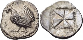 Sicily. Himera. Circa 530-483/2 BC. Drachm (Silver, 22 mm, 5.70 g). Rooster standing to left. Rev. Millsail pattern within a square, border of rays, a...