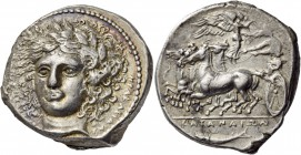Sicily. Katane. Circa 405-403/2 BC. Tetradrachm (Silver, 27 mm, 17.01 g, 2 h), signed by the engraver Herakleidas on the obverse. Laureate head of Apo...