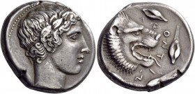 Sicily. Leontinoi. Circa 415-413 BC. Tetradrachm (Silver, 26 mm, 17.28 g, 6 h). Laureate head of Apollo to right. Rev. ΛEONTIN[ON] Head of a lion with...
