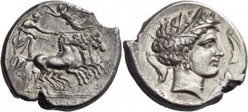 Sicily. Lilybaion (as 'Cape of Melkart'). Circa 330-305 BC. Tetradrachm (Silver, 26 mm, 16.89 g, 1 h). Charioteer, holding goad in his left hand and r...