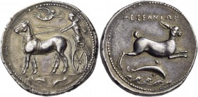 Sicily. Messana. 412-408 BC. Tetradrachm (Silver, 27.4 mm, 17.40 g, 1 h). The nymph Messana, wearing a chiton and holding the reins in both hands, dri...