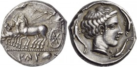 Sicily. Panormos (as Ziz). Circa 400-390 BC. Tetradrachm (Silver, 25 mm, 17.26 g, 12 h). SYS (in Punic) Quadriga galopping to left; above, Nike flying...