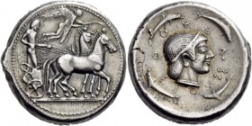 Sicily. Syracuse. Deinomenid Tyranny, 485-466 BC. Tetradrachm (Silver, 26 mm, 17.35 g, 12 h). Male charioteer, wearing a long chiton and holding a ken...
