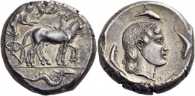 Sicily. Syracuse. Second Democracy, 466-405 BC. Tetradrachm (Silver, 25 mm, 17.42 g, 5 h), c. 466-460. Charioteer driving quadriga walking to right, h...