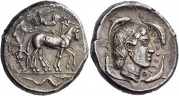 Sicily. Syracuse. Second Democracy, 466-405 BC. Tetradrachm (Silver, 26 mm, 17.11 g, 12 h), c. 466-460. Charioteer driving quadriga walking to right, ...