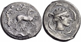 Sicily. Syracuse. Second Democracy, 466-405 BC. Tetradrachm (Silver, 27 mm, 16.95 g, 3 h), c. 450. Charioteer driving quadriga walking to right, holdi...