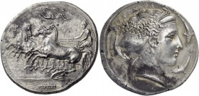 Sicily. Syracuse. Dionysios I, 405-367 BC. Tetradrachm (Silver, 30 mm, 17.10 g, 6 h), signed by Κ... on the reverse, c. 405-400. Charioteer standing l...