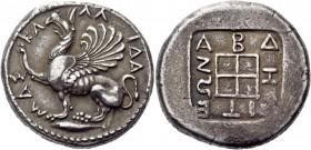 Thrace. Abdera. Circa 473/0-449/8 BC. Tetradrachm (Silver, 26 mm, 14.98 g). ΚΑ-ΛΛ-ΙΔΑ-ΜΑΣ Griffin seated to left, raising his right foreleg; below, tu...