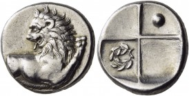 Thrace. Chersonesos. Circa 386-338 BC. Hemidrachm (Silver, 13 mm, 2.27 g, 6 h). Forepart of a lion to right, his head turned back to left. Rev. Quadri...