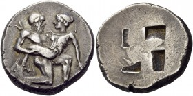 Islands off Thrace. Thasos. Circa 435-411 BC. Stater (Silver, 22 mm, 8.99 g). Ithyphallic satyr advancing to right, carrying vaguely protesting nymph;...