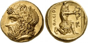 Islands off Thrace. Thasos. Circa 380 BC. Drachm (Gold, 13 mm, 2 h). Bearded head of Dionysos to right, wearing wreath of ivy leaves with berries at h...