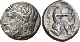 Islands off Thrace. Thasos. Circa 350 BC. Tetradrachm (Silver, 24 mm, 15.27 g, 3 h). Bearded head of Dionysos to left, wearing ivy wreath. Rev. ΘΑΣΙΟΝ...