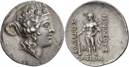 Islands off Thrace. Thasos. Circa 168/7-148 BC. Tetradrachm (Silver, 36 mm, 16.97 g, 12 h). Head of a youthful Dionysos to right, wearing elaborate iv...