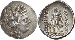 Islands off Thrace. Thasos. Circa 148-90/80 BC. Tetradrachm (Silver, 30 mm, 16.57 g, 12 h), a very early imitation. Head of the young Dionysos to righ...