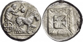 Thraco-Macedonian Region. Uncertain mint, Olynthos (?). Circa 500 BC. Tetradrachm (Silver, 25 mm, 17.03 g, 6 h). Charioteer driving slow quadriga to r...