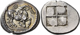 Thraco-Macedonian Region. Mygdones or Krestones. Circa 485-480 BC. Stater (Silver, 23 mm, 8.88 g). Goat kneeling to right, his head turned back to lef...