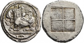 Macedon. Akanthos. Circa 480-470 BC. Tetradrachm (Silver, 28.5 mm, 17.43 g). Lion to right, attacking bull, collapsing to left with head raised; above...