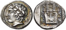 Macedon. Chalkidian League. Circa 432-348 BC. Tetrobol (Silver, 14 mm, 2.44 g, 12 h), Olynthos, 432-400. Laureate head of Apollo to left; behind neck,...