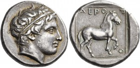Kings of Macedon. Aeropos, 398/7-395/4 BC. Tetradrachm (Silver, 23 mm, 10.49 g, 10 h). Young male head to right wearing simple taenia. Rev. ΑΕΡΟΠΟ Hor...