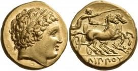 Kings of Macedon. Philip II, 359-336 BC. Stater (Gold, 17 mm, 8.56 g, 12 h), Pella mint, circa 340/336-328 BC. Laureate head of Apollo to right. Rev. ...