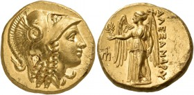 Kings of Macedon. Alexander III 'the Great', 336-323 BC. Stater (Gold, 18 mm, 8.66 g, 5 h), Amphipolis, circa 330-320. Head of Athena to right, wearin...