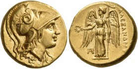Kings of Macedon. Alexander III 'the Great', 336-323 BC. Hemistater (Gold, 13 mm, 4.31 g, 10 h), Miletus, c. 325-323. Head of Athena to right, wearing...