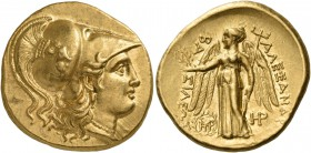 Kings of Macedon. Alexander III 'the Great', 336-323 BC. Stater (Gold, 20 mm, 8.56 g, 7 h), Babylon, 317-311. Head of Athena to right, wearing triple-...