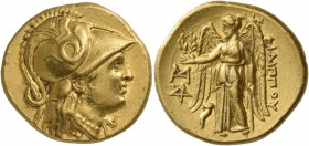 Kings of Macedon. Philip III Arrhidaios, 323-317 BC. Stater (Gold, 19 mm, 8.58 g, 12 h), Abydos, 318/317. Head of Athena to right, wearing pendant ear...