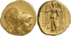 Kings of Macedon. Demetrios I Poliorketes, 306-283 BC. Stater (Gold, 19 mm, 8.57 g, 7 h), Pella, 293-292. Head of Athena to right, wearing Corinthian ...