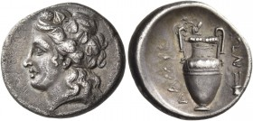 Thessaly. Lamia. Circa 400-344 BC. Hemidrachm (Silver, 16 mm, 2.84 g, 12 h), c. 360s-350s BC. Head of Dionysos to left, wearing ivy wreath. Rev. ΛΑΜΙΕ...