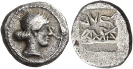 Thessaly. Larissa. Circa 479-465 BC. Obol (Silver, 10 mm, 0.97 g, 9 h). Head of the nymph Larissa to right, her hair bound with a ribbon and tied at t...