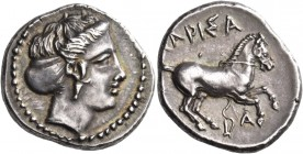 Thessaly. Larissa. Circa 420-400 BC. Drachm (Silver, 20 mm, 6.04 g, 3 h). Head of the nymph Larissa to right, wearing pendant earring and with her hai...