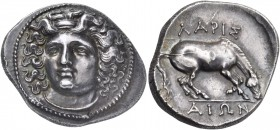 Thessaly. Larissa. Circa 356-342 BC. Drachm (Silver, 21 mm, 6.13 g, 6 h). Head of the nymph Larissa facing, turned slightly to the left, wearing ampyx...