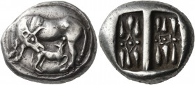 Korkyra. Circa 510-480 BC. Stater (Silver, 21 mm, 11.07 g), circa 500. Cow standing left, her head turned back to right to lick calf sucking to right....