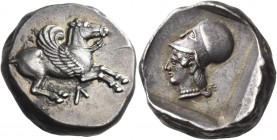 Akarnania. Leukas. Circa 465-450 BC. Stater (Silver, 19 mm, 8.60 g, 3 h). Λ Pegasos flying to right, with curved wings and wearing bridle. Rev. Head o...