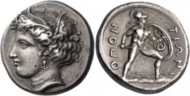 Lokris. Lokris Opuntii. Circa 350 BC. Stater (Silver, 22 mm, 12.06 g, 6 h). Head of Demeter to left, wearing wreath of grain leaves and triple-pendant...