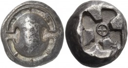 Boeotia. Thebes. Circa 480-460 BC. Stater (Silver, 16 mm, 11.86 g). Boeotian shield, with a rim divided into eight segments. Rev. Incuse square with a...