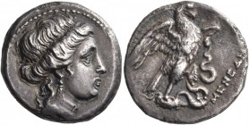 Euboia. Chalkis. Circa 180-146 BC. Octobol (Silver, 25 mm, 5.48 g, 11 h). Head of the nymph Chalkis to right, her hair in a roll and wearing a triple-...