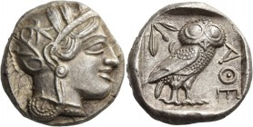 Attica. Athens. Circa 449-404 BC. Tetradrachm (Silver, 24 mm, 17.14 g, 4 h). Head of Athena to right, wearing crested Attic helmet with palmette and t...