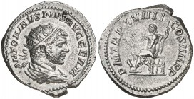 (216 d.C.). Caracalla. Antoniniano. (Spink 6769 var) (S. 342a) (RIC. 277b). 5,14 g. Limpiada. (MBC+).