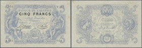 Algeria: Banque de l'Algérie 5 Francs July 19th 1912, P.71a, very early issue in excellent condition with a vertical fold at center, some other minor ...